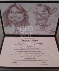 Invitatii de nunta personalizate caricatura 2