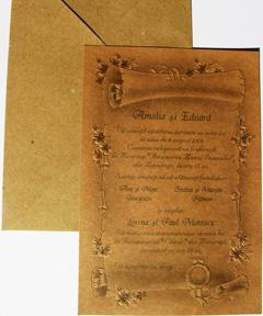 Invitatii de nunta personalizate pergament