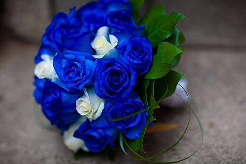 Buchet din trandafiri albastri si albi; Pret: 390 lei