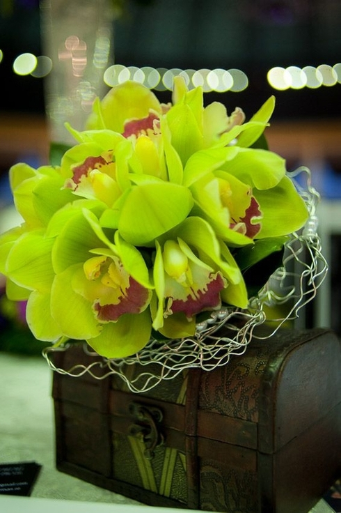 Buchet din orhidee imperiala verde; Pret: 220 lei