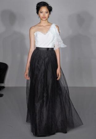 rochie de mireasa alb cu negru