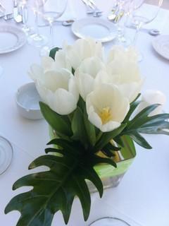 Aranjament din lalele albe; Pret: 60 lei