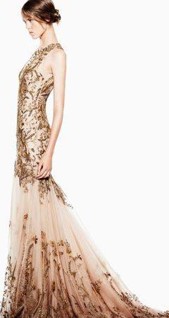 rochie de mireasa aurie