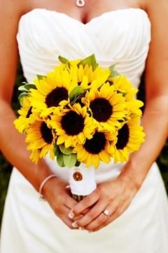 Buchet de mireasa cu floarea soarelui