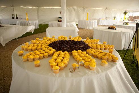 Candy-bar cu tematica floarea soarelui