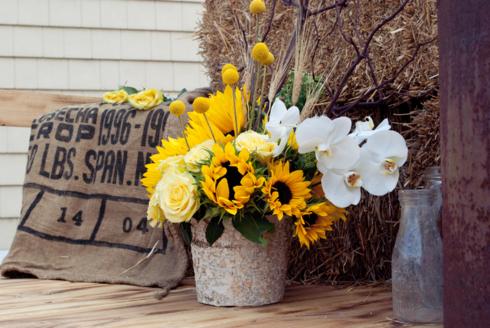 Decoruri rustice cu floarea soarelui