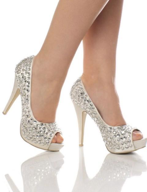 pantofi de mireasa albi cu cristale
