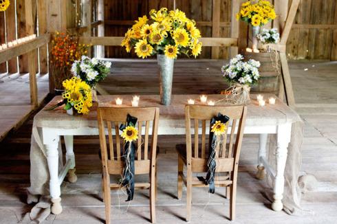 Prezidiu nunta tematica cu floarea soarelui