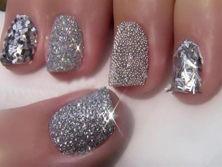 Modele de unghii cu glitter pentru nunta