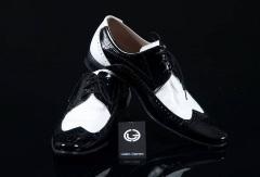Pantofi din piele alb-negru