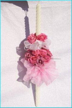Lumanare de nunta compusa din 21 de trandafiri Aqua