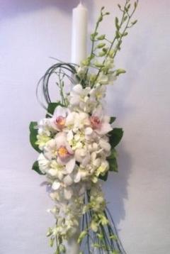 2.Lumanari de cununie din orhidee alba imperiala si orhidee dendrobium