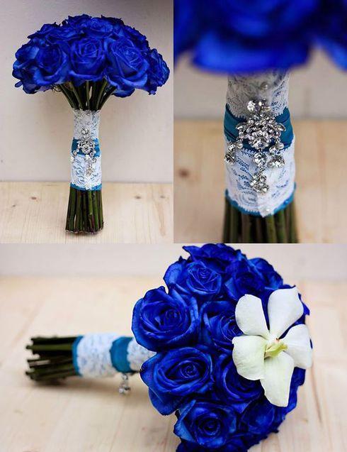 Buchete de mireasa cu flori albastre
