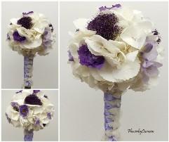Buchet de mireasa din hortensia alba, tranchilium, eustoma si frezii