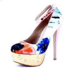 Pantofi Epica din material textil multicolor cu toc de 14 cm.