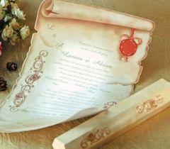 invitatie de nunta pergament