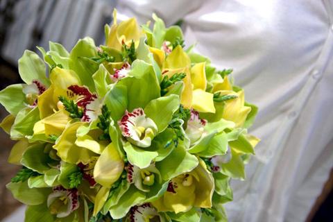 poza aranjament floral exotic
