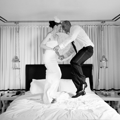 Fotografie de nunta in pat