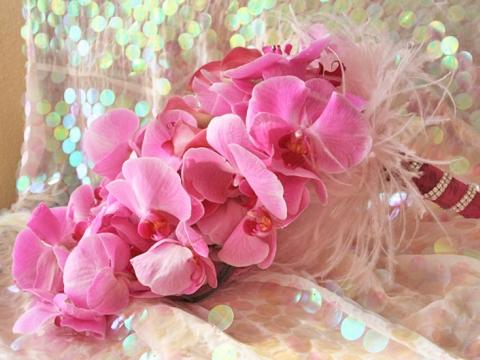 Buchet mireasa orhidee roz