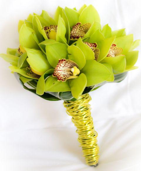 Buchet de mireasa orhidee verzi