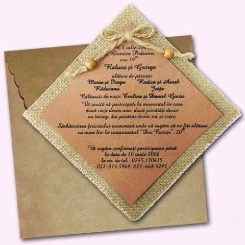 Invitatie pentru nunta rustica