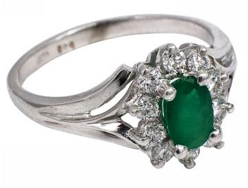 Inel de logodna Gold Mall aur alb, smarald si diamant