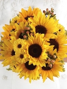 buchet de mireasa din floarea-soarelui