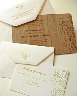 invitatie de nunta din lemn