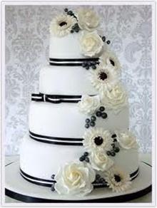 tort de nunta alb negru