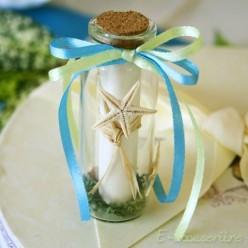 Marturie nunta sticluta cu bomboane, scoici si mesaj