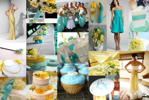 Nunta turquoise si galben