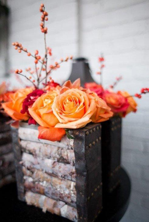 Aranjament floral cu trandafiri