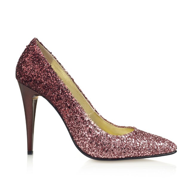 Pantof din glitter bordeaux