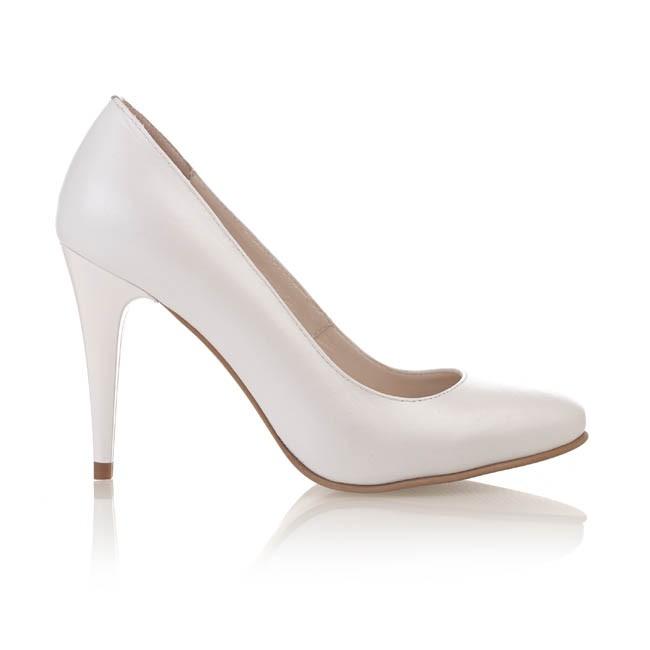 Pantofi din piele alba sidef 551