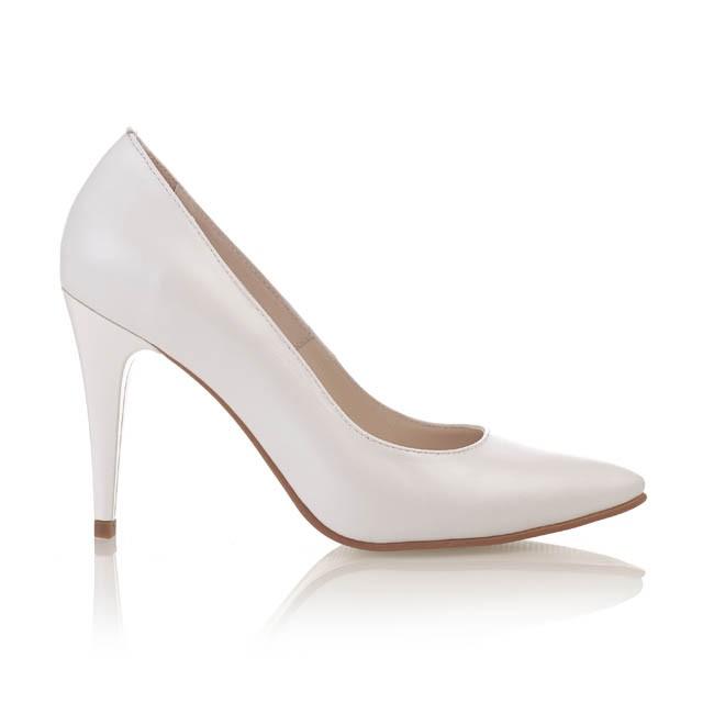 Pantofi din piele alba sidef  428