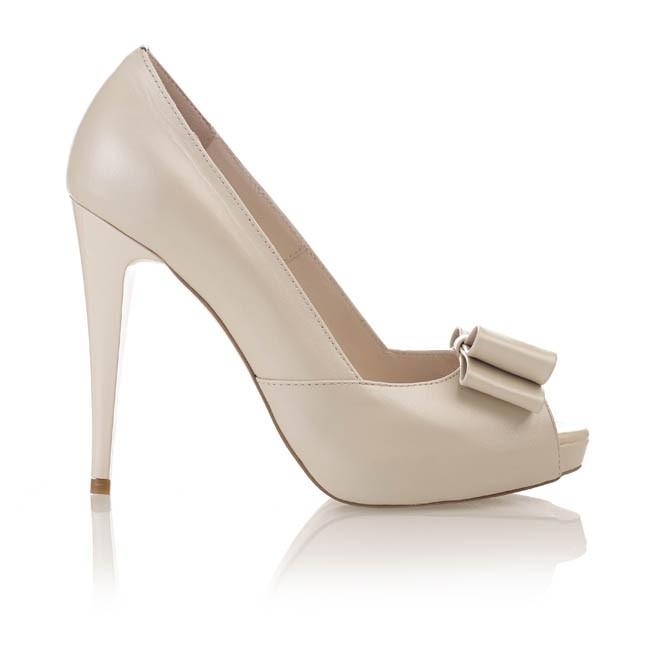 Pantofi din piele bej sidef cu funda