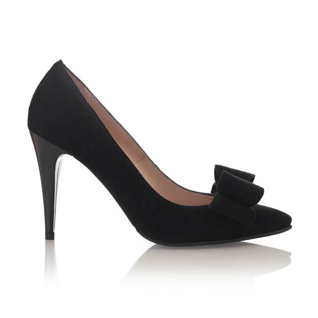 Pantofi din piele intoarsa neagra cu funda
