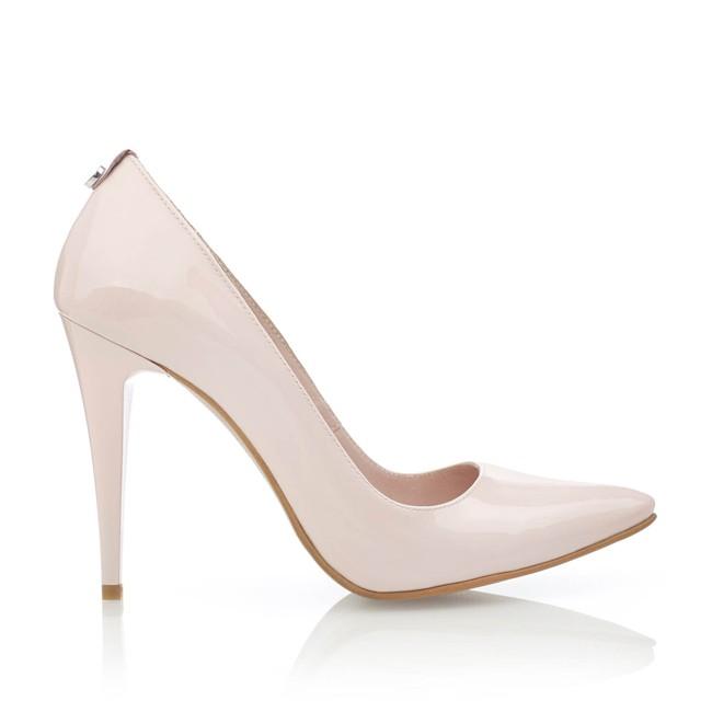 Pantofi din piele nude lacuita