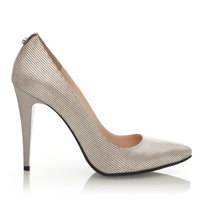 Pantofi din piele argintie cu imprimeu linii