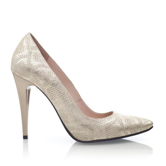 Pantofi din piele argintie cu imprimeu sarpe