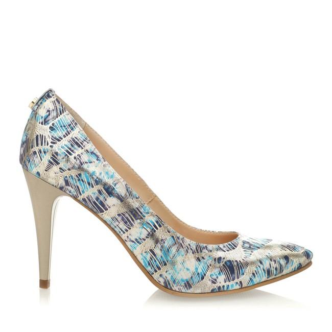 Pantofi din piele cu imprimeu bleumarin ?i toc auriu
