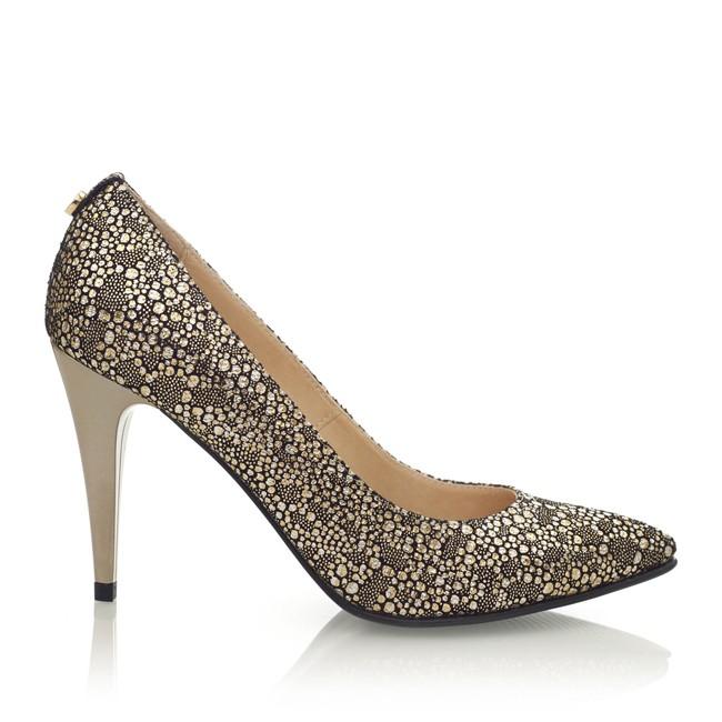 Pantofi din piele cu imprimeu auriu ?i toc auriu