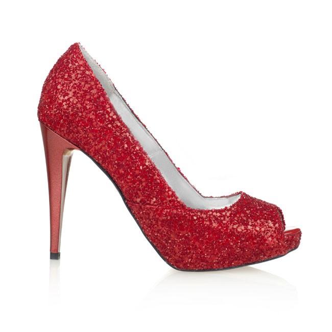 Pantof cu platforma din glitter rosu