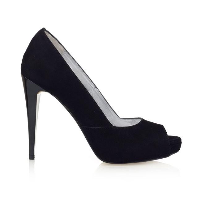 Pantof cu platforma din piele intoars neagra