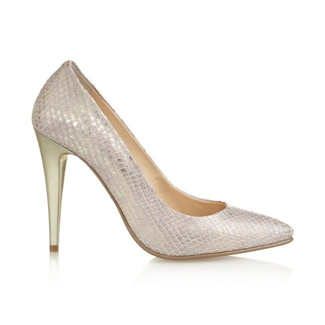 Pantof din piele aurie cu print sarpe