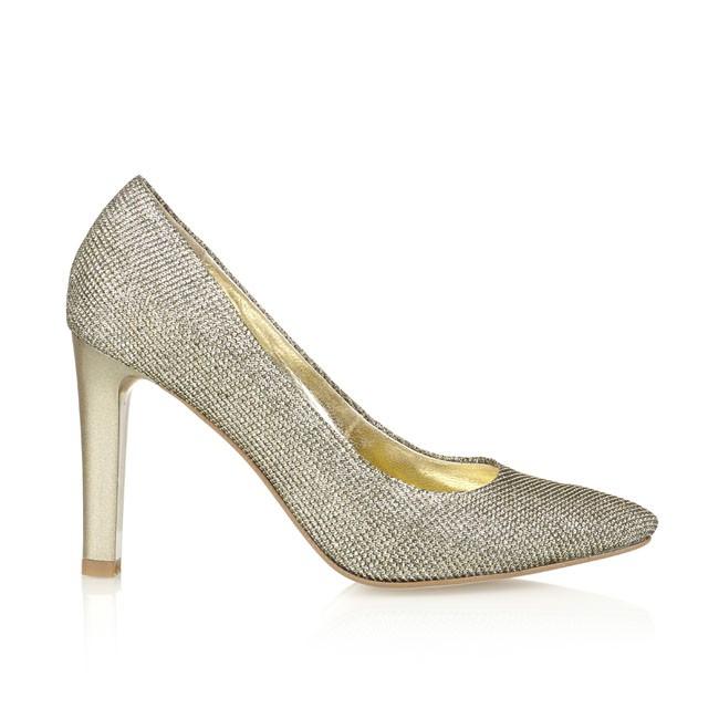 Pantof din glitter auriu