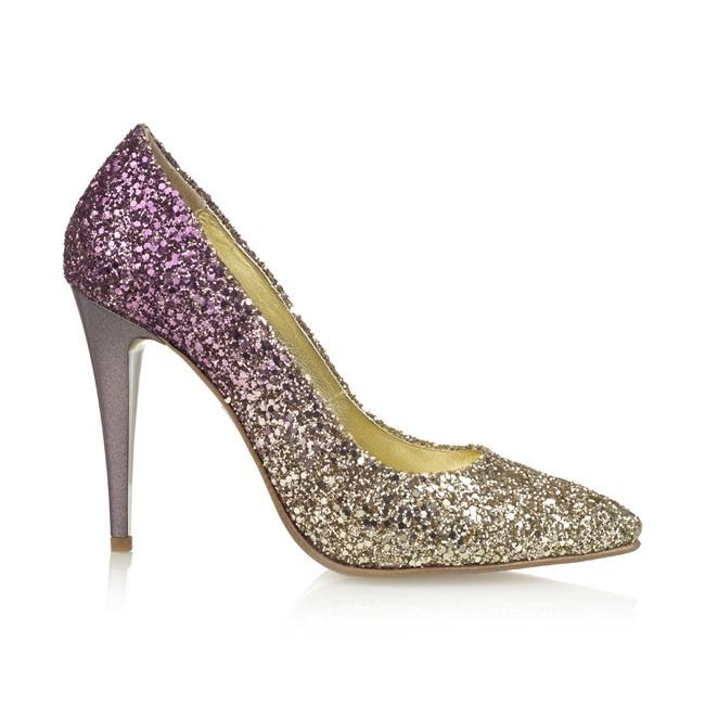 Pantof din glitter auriu-ciclamen