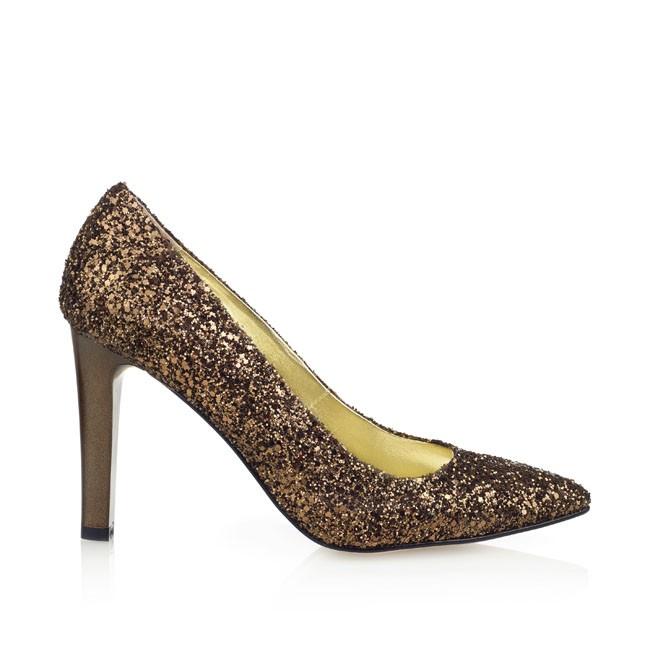 Pantof din glitter bronz